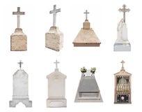 Lápidas mortuarias aisladas en el fondo blanco Fotos de archivo libres de regalías