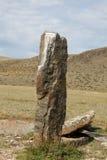 Lápidas mortuarias antiguas en las estepas del Altai Foto de archivo