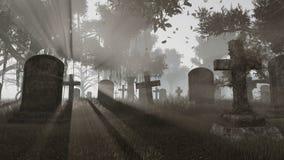 Lápidas mortuarias viejas en el monocromo de la puesta del sol stock de ilustración