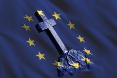 Lápide com a bandeira da União Europeia fotos de stock