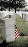 Lápide e bandeira americana Fotos de Stock Royalty Free