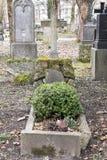 Lápides em um parque do cemitério fora Foto de Stock Royalty Free