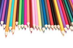 Lápis alinhados em seguido Foto de Stock Royalty Free