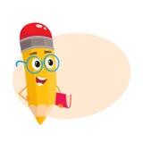 Lápis amarelo dos desenhos animados nos vidros nerdy que dizem algo inteligente ilustração do vetor