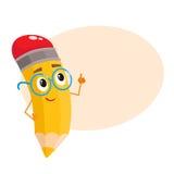 Lápis amarelo dos desenhos animados nos vidros nerdy que dizem algo inteligente ilustração royalty free