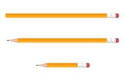 Lápis amarelos ajustados no fundo branco Ilustração do vetor Fotografia de Stock Royalty Free