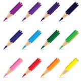 Lápis colorido isolado no fundo branco Lápis bonito no projeto Imagem de Stock