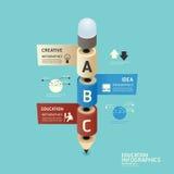 Lápis colorido isométrico infographic Fotos de Stock