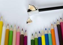 Lápis colorido no fundo branco Imagens de Stock