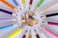 Lápis colorido no fundo branco Fotografia de Stock Royalty Free