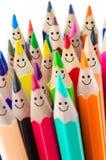 Lápis coloridos como as caras de sorriso Imagens de Stock