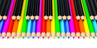 Lápis coloridos e pretos como chaves do piano, rendição 3D Foto de Stock