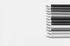Lápis coloridos em preto e branco Fotografia de Stock