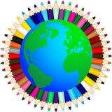 Lápis coloridos em todo o mundo Imagens de Stock Royalty Free