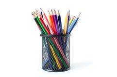 Lápis coloridos em um vidro Imagens de Stock Royalty Free