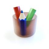 Lápis coloridos em um vidro Fotos de Stock Royalty Free