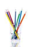Lápis coloridos em um vidro Fotos de Stock