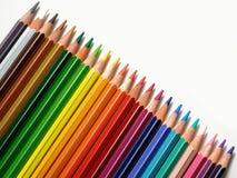 Lápis coloridos em uma fileira Fotos de Stock