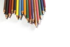 Lápis coloridos isolados no fundo branco Fotografia de Stock