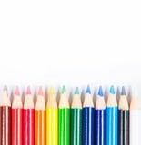 Lápis coloridos isolados no fundo branco Fotografia de Stock Royalty Free