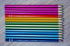 Lápis coloridos na ordem do arco-íris Imagens de Stock