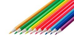 Lápis coloridos no branco Fotos de Stock Royalty Free