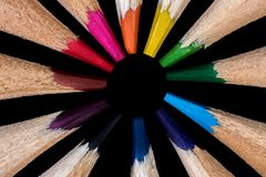 Lápis coloridos no círculo Foto de Stock