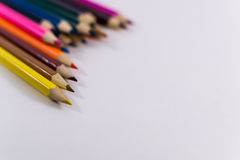 Lápis coloridos no fundo branco Fotografia de Stock Royalty Free