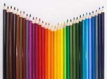 lápis coloridos no fundo branco Fotos de Stock Royalty Free