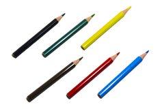 Lápis coloridos no fundo isolado branco Imagem de Stock