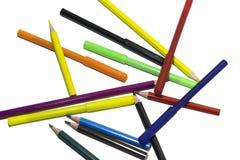 Lápis coloridos no fundo isolado branco Fotografia de Stock Royalty Free
