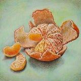 Lápis coloridos o mandarino Fotos de Stock