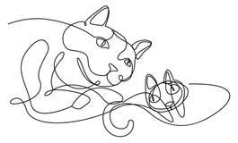 A lápis contínuo desenho dos gatos moderno ilustração do vetor