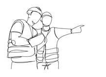 A lápis contínuo ilustração do vetor da supervisão da construção civil do coordenador do desenho simples indústria, casa, indústr ilustração royalty free