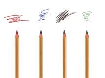Lápis cosméticos com cursos da amostra Imagens de Stock