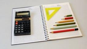 Lápis da calculadora do caderno do caderno Imagem de Stock
