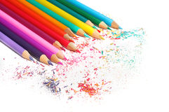 Lápis da cor ajustados isolados no fundo branco Foto de Stock