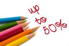 Lápis da cor com o 50% fora do negócio especial Imagens de Stock