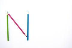 Lápis da cor como o alfabeto N Imagens de Stock