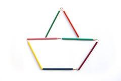 Lápis da cor como o barco Foto de Stock
