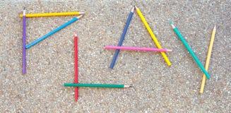 Lápis da cor como a palavra JOGO Imagens de Stock Royalty Free