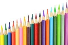 Lápis da cor do estilo da carta da disposição isolados no fundo branco Imagens de Stock Royalty Free