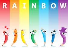 Lápis da cor do vetor ajustados no arco-íris ilustração stock