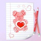 Lápis da cor e urso de peluche Foto de Stock