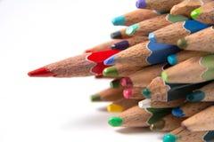 Lápis da cor isolados no fim branco do fundo acima Fotos de Stock