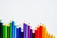 Lápis da cor isolados no fundo branco Fim acima Copie o espaço Foto de Stock Royalty Free