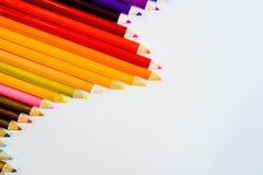 Lápis da cor isolados no fundo branco Fim acima Copie o espaço Imagem de Stock Royalty Free
