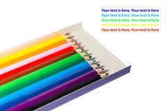 lápis da cor na caixa Fotografia de Stock