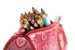 Lápis da cor no caso Imagem de Stock