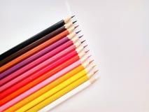Lápis da cor no fim branco do fundo acima fotografia de stock